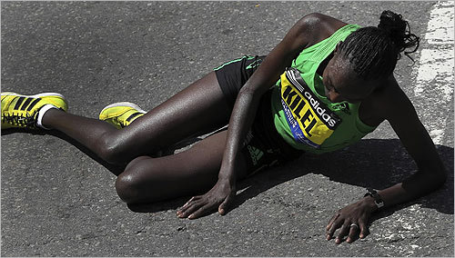 Caroline Kilel was exhausted after holding off the pack to win the 115th Boston Marathon.