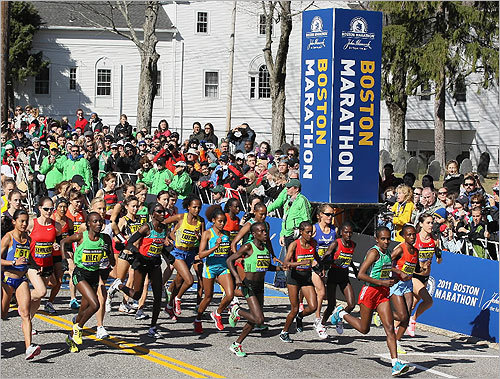 The elite women headed out at the start of the 115th Boston Marathon.