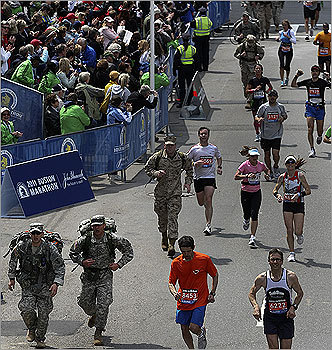It was only fitting on Patriots Day that several members of the military ran the Boston Marathon.