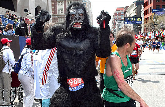 Jeff Bennett from Coppell Texas ran the race in a gorilla outfit. 'I just wanted to have fun,' he said at the finish line.