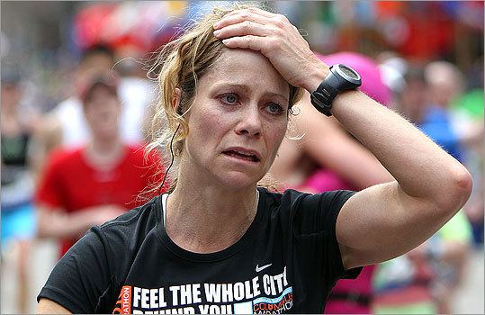 An emotional Allyson Carson from Solon, Ohio, crossed the finish line.