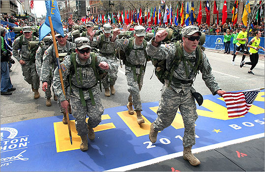 An Army ROTC unit from Western New England College in Springfield finished the marathon in their heavy gear.