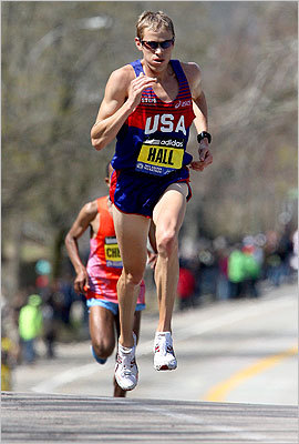 Ryan Hall made his way up Heartbreak Hill in Newton.