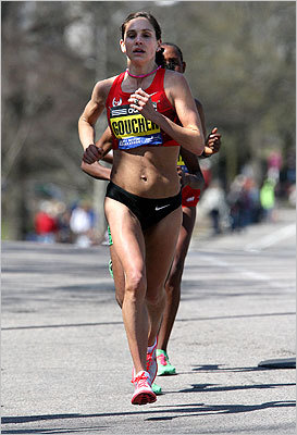 Kara Goucher made her way up Heartbreak Hill.