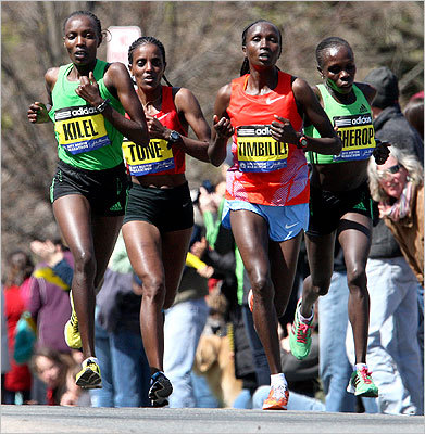 Women's leaders (from left to right) Caroline Kilel, Dire Tune, Alice Timbilli, and Sharon Cherop made their way upo Heartbreak Hill.