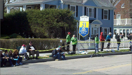 Waiting for the runners near Heartbreak Hill.