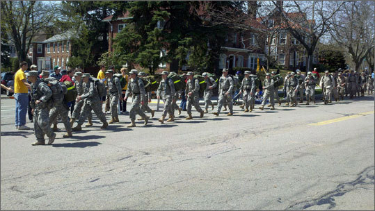UMass ROTC students made their way down the route.