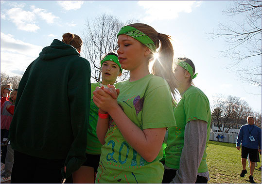 Megan Mazzie, 14, and six of her friends call themselves the 'Run Forrest Run' team.