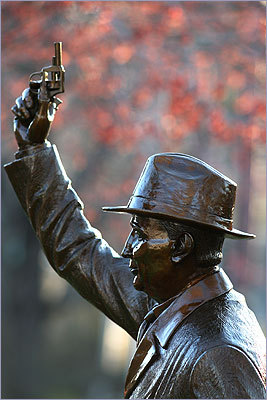 'The Starter' statue on Hopkinton Common honors George V. Brown.