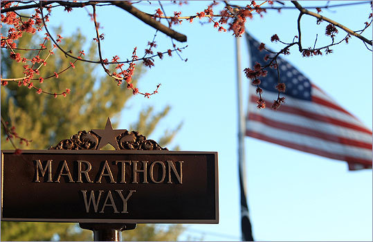 Marathon Way runs alongside the Hopkinton Commons.