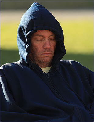 Mark West, who is originally from Framingham and now lives in Los Angeles, caught some Zs before the race.