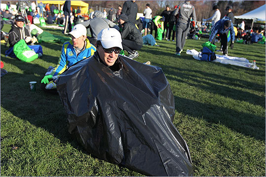 Scott Sanford used an unconventional way to stay warm before the race.