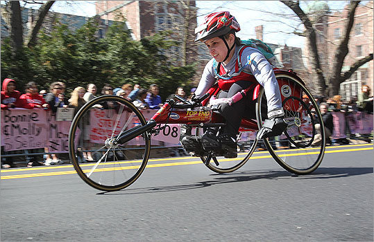 Earlier in the day, the wheelchair race passed through Wellesley.