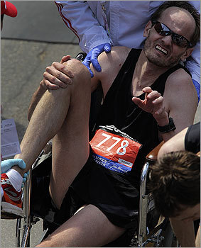 This runner needed a little tender, loving care after crossing the finish line.
