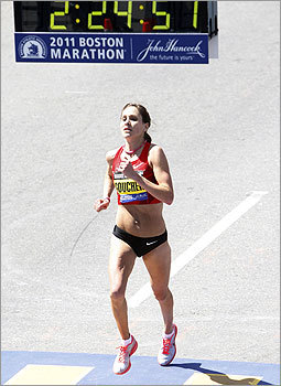 Kara Goucher of the United States crossed the finish line.