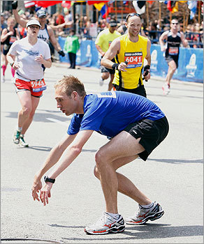 There's so much it takes in an individual to complete a marathon. The 26.2 miles can be grueling on the fittest of individuals. Cy Fixen of Brookings, S.D., collapsed near the finish line of the 115th Boston Marathon. He was one of many in the race who ran through pain, hoping to persevere.