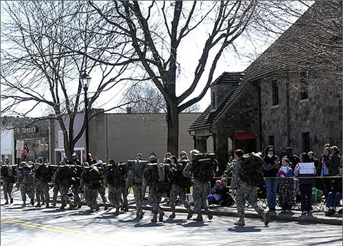 UMass ROTC took on the marathon with packs on their backs.