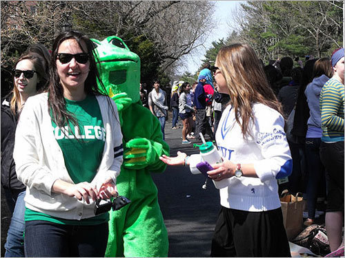 2011 A person dressed in a frog costume walked among the crowd.