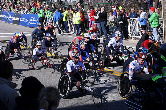 It was a crowded at the start of the wheelchair race.
