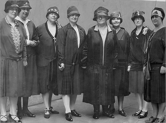 The first women on the force were responsible for watching out for young women, who authorities feared at the time were falling prey to skirt-chasers accosting teenage girls at movie theaters, parks, and city beaches. Pictured left: Massachusetts women police officers attended an annual meeting in 1927.