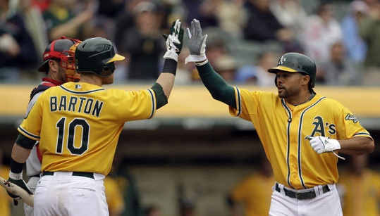 April 20: Red Sox 5. Athletics 3 Coco Crisp (right) is congratulated by teammate Daric Barton after Crisp hit a home run off the first pitch from Red Sox pitcher Clay Buchholz in the first inning on Wednesday.