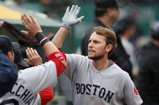 April 20: Red Sox 5. Athletics 3 Jed Lowrie the Red Sox is congratulated by teammates after he hit a two run home run int he sixth inning Wednesday in Oakland.