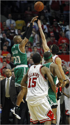 Ray Allen: Game 6 vs. Bulls, 2009 playoffs Allen makes this list a lot, but each time is well-deserved. His 51-point performance was a career playoff high, but it wasn't enough to get the Celtics past the Bulls in Game 6. The Celtics lost the game, 128-127, in three overtimes, before winning Game 7 in Boston. Allen hit nine 3-pointers in the game, aided by the three overtime periods.