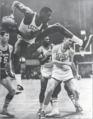 Bill Russell: Game 7, 1962 NBA Finals vs. Lakers Bill Russell put up one of the most impressive statistical games of all-time in a 110-107 overtime win over the Los Angeles Lakers in Game 7 of the 1962 NBA Finals. Russell's 30 points and staggering 40 rebounds helped the Celtics to their fourth of eight consecutive championships. Russell set the Finals record for most rebounds in a quarter during the game with 19.