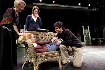 Actors (clockwise from left) Karen Wilcox, Kirsten Scott, Eric Hamel, and Erica Spyres prepare for Tuesday's opening performance. Below, director Nora Hussey leads the rehearsal.
