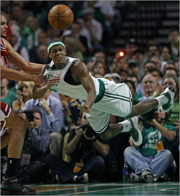 Rajon Rondo: Celtics vs. Bulls Game 2, 2009 playoffs Somewhat lost in Ray Allen's performance during the same game was Rajon Rondo's triple-double. Rondo had 19 points, 12 rebounds and 16 assists in a breakout performance. He also held Bulls guard Derrick Rose to 10 points in the Celtics' win.