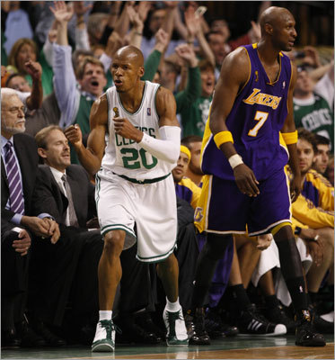Ray Allen: Game 6, 2008 NBA Finals vs. Lakers Allen tied an NBA record with seven 3-pointers against the Lakers during the biggest game of his life, helping the Celtics close out the Lakers 131-92 to capture Boston's 17th NBA championship. Allen hit 7 of 9 threes and finished with 26 points despite dealing with the health issues of his young son during the series.