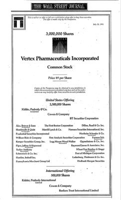 In 1991, Vertex went public with an initial public offering of 3 million shares that raised approximately $25 million. Eventually more than $4 billion was spent in drug discovery.