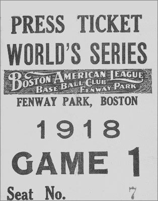 A press pass for the first game at Fenway Park. Contrary to popular belief, Bob Ryan did not cover the game for the Globe.