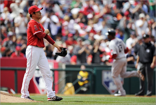 April 24: Red Sox 7, Angels 0 Crawford's shot came in the sixth inning off Angels reliever Hisanori Takahashi.