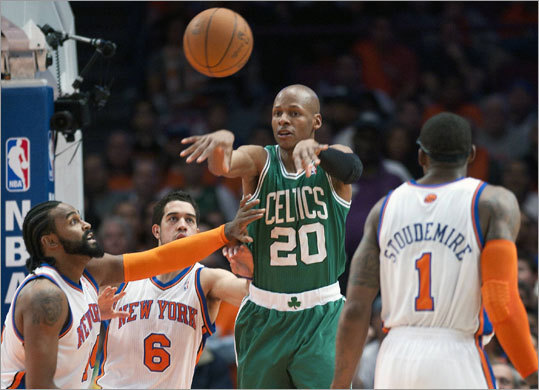Game 4: Celtics 101, Knicks 89 Allen passed between the Knicks' Ronny Turiaf (left), Landry Fields and Stoudemire in the first quarter. Allen scored 14 points and had five assists and five rebounds.