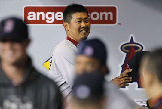 April 23: Red Sox 5, Angels 0 Pitcher Daisuke Matsuzaka was all smiles in the dugout after his second straight solid performance resulted in a 5-0 victory for the Red Sox over the Angels in the third game of the series at Angels Stadium in California. Matsuzaka pitched eight innings and allowed one hit while striking out nine. He improved to 2-2.