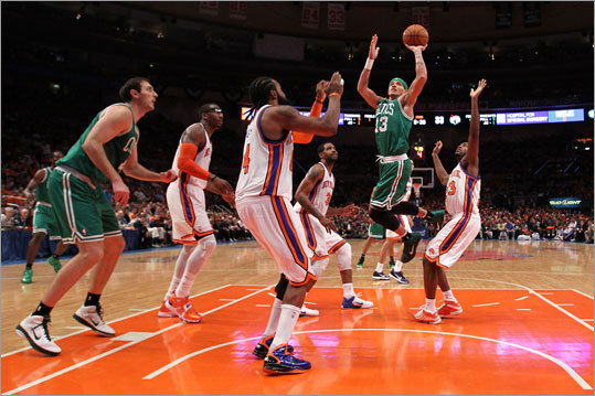 Game 4: Celtics 101, Knicks 89 Delonte West drove for a shot against the Knicks. West played 12 minutes, 36 seconds and scored two points.