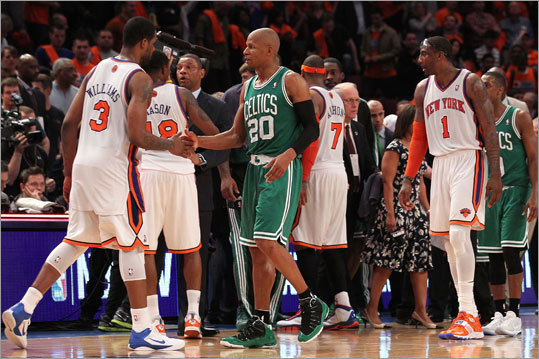 Game 4: Celtics 101, Knicks 89 Allen was congratulated on the series victory by Shawne Willliams.