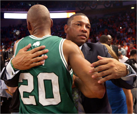 Coach Doc Rivers and Ray Allen had reason to celebrate after the Celtics defeated the Knicks 101-89 Sunday at Madison Square Garden to sweep their first-round NBA playoff series. The Celtics earned their first sweep of a playoff series since 1992.