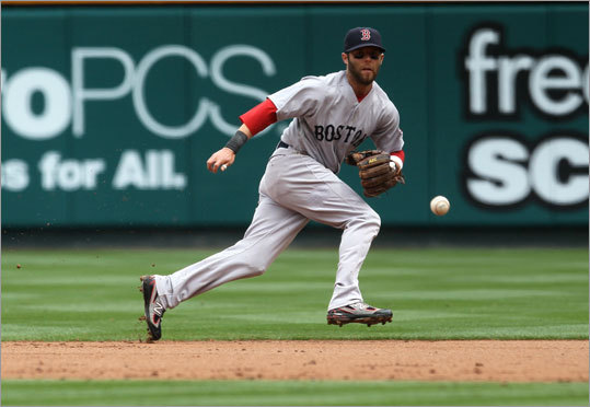 April 24: Red Sox 7, Angels 0 Second baseman Dustin Pedroia ranged left to get a ground ball, but was unable to throw out Alberto Callaspo, who was given an infield single.