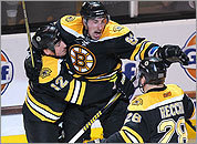 Brad Marchand celebrates his goal in Game 5