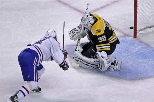 Game 7: Bruins 4, Canadiens 3 Canadiens center Tomas Plekanec scored a short-handed goal past Bruins goalie Tim Thomas in the second period. The goal tied the score at 2-2.