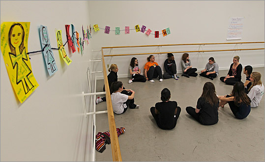 At the Boston Ballet School, Big Sister Association of Boston runs group mentoring sessions at the 'Taking Healthy Steps' academy at the ballet school.