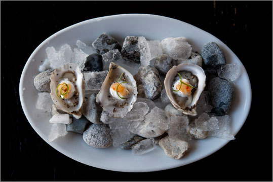 At Francine Bistro in Camden, oysters and haddock. Read: Small food, big chefs