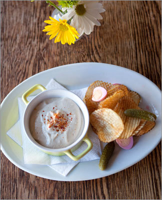At Francine Bistro - smoked shad roe with chips and dip chips and dip. Read: Small food, big chefs