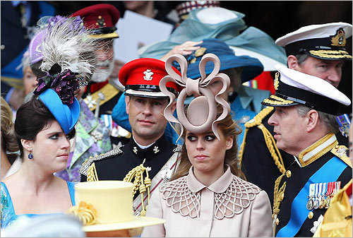 Around 1,900 guests attended the royal wedding dressed to impress. Among the accessories: hats. From feathers to flowers, many women wore hats of all colors and shapes. From left, Princess Eugenie of York, Prince Edward, Earl of Wessex, Princess Beatrice of York, and Prince Andrew, Duke of York.