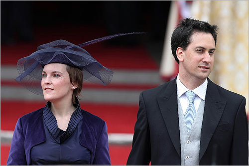 From left, Justine Thornton and Ed Miliband, leader of the Labor Party, exited Westminster Abbey after the royal wedding.