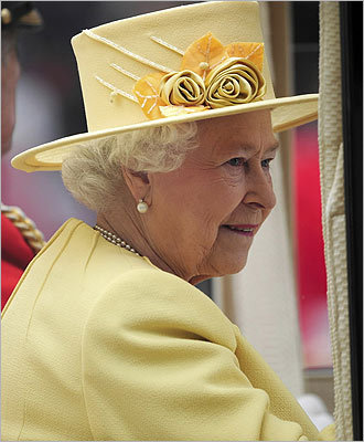 A close-up of Queen Elizabeth's hat.