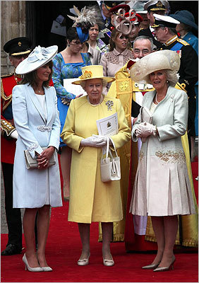 From left, Carole Middleton, Queen Elizabeth II, and Camilla, Duchess of Cornwall.