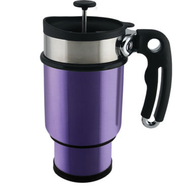 A stylish way to refuel on the go Planetary Design's stainless steel Double Shot lets you take along your favorite brew whether you are on a business trip or backcountry adventure. The French press-style travel mug has a plunger lid with a tightly woven mesh screen that can filter anything from fine coffee grounds to loose-leaf tea. After plunging, leave the lid in place and drink; the cup comes with a standard travel lid, too. The 14-ounce cup has a compartment on the bottom for coffee or tea supplies so you can refuel on the go, and its tapered bottom fits most automobile drink holders. The tight-sealing lid and double-walled construction help keep drinks remarkably warm. The Double Shot sells for $29.99 at Planetary Design (888-327-9908, www.planetarydesign.com ). KARI BODNARCHUK